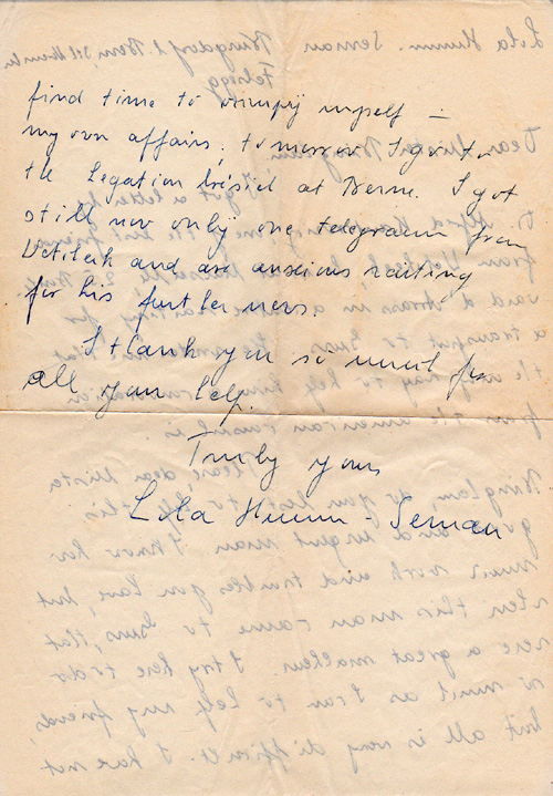 letter to Harry from Lila Hunan-Sernan
