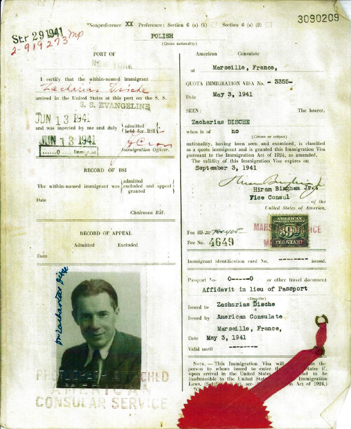 VISA ISSUED TO SCIENTIST ZACHARIAS DISCHE on MAY 3, 1941
